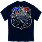 New Blue T-Shirt with Elite Breed Police Shield Design with Chrome Accents