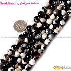 Beauty 8mm Round Faceted Gemstone Black&Blue Frost Agate Beads Strand 15""
