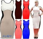 Womens Bodycon Dress Ladies Contrast Slimming Mini Skirt Sexy Party Dresses 8-16