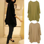 Women Fashion Cotton  Casual Loose Oversized 3/4 Sleeve Tops T-shirt Blouse