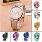 Women Ladies Geneva Stainless Steel Faux Leather Band Quartz Analog Wrist Watch