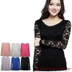 Women Lace Slim Waist Blouse Tops Delicate Floral Long Sleeve Tee Shirts
