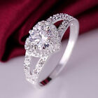 Popular jewelry Silver Charm Women Crystal Love Heart Ring Wedding Party