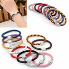 Simple Genuine Real Leather Crystal Cuff Wrap Wristband Buckle Bracelet Bangle