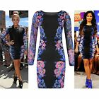 Womens Bodycon Mini Dress Celeb Demi Lovato Floral Flower Print Mesh Sleeves Top