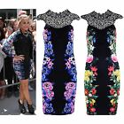 Womens Bodycon Mini Dress Demi Lovato Floral Print Lace Top Party Sexy Dresses