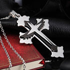 AgentX Mens Stainless Steel Wing Cross Design Pendant Chain Necklace Gift + Bag