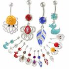 belly ring crystal navel bar button body jewelry piercing 9GZH-PICK COLOR&STYLE