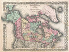 MP8 Vintage 1854 Map Of British Territory In N.America Poster Re-Print A1 A2 A3