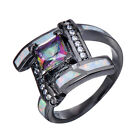 Mystic 4.20/ct Rainbow CZ White Opal Cross Rings 10Kt Black Gold Filled Size 6-9