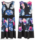Womens Floral Skater Dress Ladies Bow Front Cute Contrast V Neck Evening Dresses