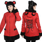 Banned Apparel Red Riding Hood Corset Teddy Bear Ears & Bows Wool Coat Jacket