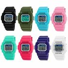 NEW Women's Mens Candy Color Digital Sport Chronograph Alarm Rubber Wrist Watch