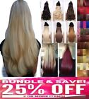 "Blonde 24"" Clip in Half Head One Piece HAIR EXTENTION 5 CLIPS UK Like Human Hair"
