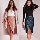 Women's Faux Leather Wet Look Fashion Party Cocktail Work Wrap Skirt Mini Dress