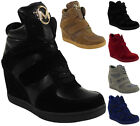 WOMENS LADIES LACE UP VELCRO SNEAKERS TRAINERS HIGH WEDGE HEEL ANKLE BOOTS SIZE
