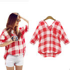 Short Sleeve Red Tartan Grid Stripped Loose Casual Womens T Shirt Blouse Tops