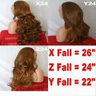 BROWN HIGHLIGHT AUBURN Long Curly Layers Half Wig Hair Piece 3/4 Wig Fall #27H12