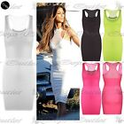 Womens Celebrity Racer Back Neck Ladies Strappy Fish Net Mini Bodycon Dress Top