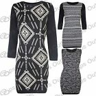 Womens Ladies Aztec Girls Bodycon Sweater Knitted Pullover Jumper Dress Long Top