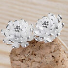Hot Sale WomenPlated silver Lotus Flower Ear Studs Earrings Jewelry