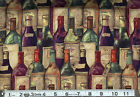 PACKED WINE BOTTLES : 100% cotton fabric : sold by the 1/2 metre
