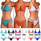 Womens Sexy Mesh triangle Strappy Bikini Set Bandage Up Top Swimsuit Swimwear FO
