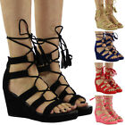 NEW WOMENS LADIES ANKLE STRAP MID HEEL WEDGES SHOES LACE UP CUT OUT SANDALS SIZE