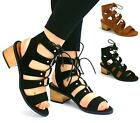 WOMENS LOW BLOCK HEEL SHOES ANKLE LACE UP CUT OUT GLADIATOR SANDALS SIZE