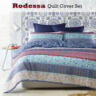 3 Pce Rodessa Floral Natural Blue Quilt Cover Set by Phase 2 - QUEEN KING