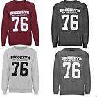 Womens Ladies BROOKLYN 76 NEW YORK Print Varsity Sweatshirt Pullover Jumper Top