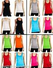 4pk Womens Racerback Tank Tops 100% Cotton Basic Solid Tee Cami GPGD NEW TT402