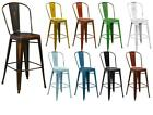 "30"" High Distressed Metal Indoor Bistro Style Counter Height Barstool"