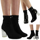 NEW WOMENS BLACK CLEAR PERPLEX HEEL HIGH ANKLE LADIES STRETCH BOOTS SHOES SIZE