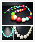 """8-18,8-20,6-22MM Beautiful Turquoise Round Beads Necklace 20"""" SS0018-2"""