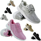NEW LADIES RUNNING TRAINERS GLITTER WOMENS FITNESS GYM SPORTS LACE UP SHOES SIZE