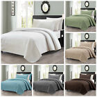 Chezmoi Collection Edan 3pcs Solid Classic Checkered Quilted Coverlet Set