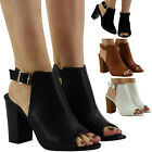 NEW WOMENS PARTY BUCKLE PEEPTOE SANDALS CHUNKY LADIES HIGH BLOCK HEEL SHOES SIZE
