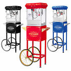 GNP Foundation Popcorn Machine 4oz Popcorn Popper w/Cart 4 Ounce Red-Black-Blue!