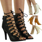 WOMENS LADIES ANKLE STUD PEEPTOE LACE UP HIGH STILETTO HEEL PARTY SHOES BOOTS SZ