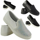 NEW LADIES DIAMANTE COMFY RUNNING SLIP ON WOMENS FITNESS GYM SPORTS SHOES SIZE