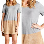 Half Sleeve Thermal High Low Hem Tunic Dress with Faux Suede Casual S M L