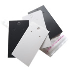 Jewellery Display Cards Earring Black Lattice/plain White & Self Adhesive Bags