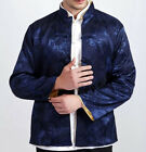 Double face Chinese men's silk jacket/coat Blue and yellow SZ: M L XL 2XL 3XL