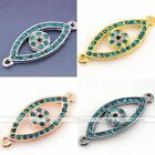 Side Ways Metal Blue Crystal Evil Eye Bracelet Connector Charm Finding Bead DIY