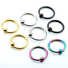 "Pair Men Women Stainless Steel 16G 1/4"" Ear Tragus Helix Hoop Ring Earring"
