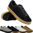 NEW WOMENS FLAT SUEDE FLATFORM LACE UP GOTH PUNK LADIES CREEPER SHOES SIZE