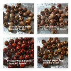 Printed Wood Beads 7mm 10mm Assorted Patterns Wood Craft Beads