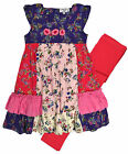 Girls Pretty Floral Tunic Top Legging Set New Kids 2 Piece Outfit Age 2-10 Years