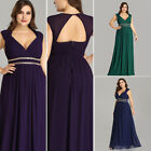Maxi Bridesmaid Dresses V Neck Long Chiffon Evening Gown Prom Party Dress 08697